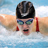 Pat Christman<br /> Mankato West's Danielle Nack swims toward the finish of the 100-yard butterfly finals during the State Class A swimming and diving meet Wednesday at the University of Minnesota Aquatic Center. Nack won her third straight state championship in the event.