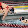 Pat Christman<br /> Mankato West's Danielle Nack waves a lap number for her sister Chantal during the State Class A 500-yard freestyle finals Wednesday.