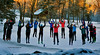 Sunrise warm-ups @ -21C<br /> Stella is the little kid, 3rd from right<br /> Mansfield Nordic Thanksgiving Camp<br /> Craftsbury, VT, November 30, 2013