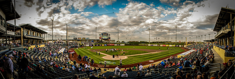 Panoramic view as the fans find their seats before the game.