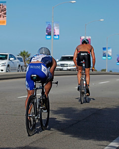 First Lap over the Channel Islands Bridge.  Smith in the lead followed by Jones.