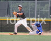 Corinth 2B Jacob Rowe (20) gets the force out at 2nd as East Wake runner Brian Parker (10) slides a little too late. Photo by Dean Strickland.