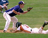 Bob Raines--Montgomery Media<br /> Warminster's JW Lucas slides under Morelanders' Christian Leighton for a triple June 19, 2015.