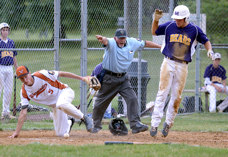 Bob Raines--Montgomery Media<br /> Morelanders' Kyle Irwin scores on a passed ball as Warmintster's Ryan Lucas bobbles the ball while covering the plate June 19, 2015.