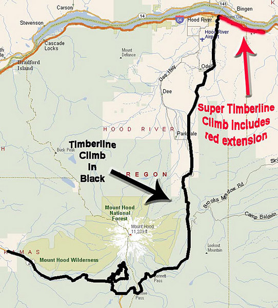 The 66 mile course - Welches to Hood River, with the Timberline Climb option.