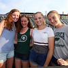 Sun All Stars honored at LeLacheur Park before Spinners game. From left, Billerica track & field All Stars Leithsa Dimanche, Deidra Anderson, Hannah Doherty, and Nicole Anderson (Deidra's sister). (SUN/Julia Malakie)