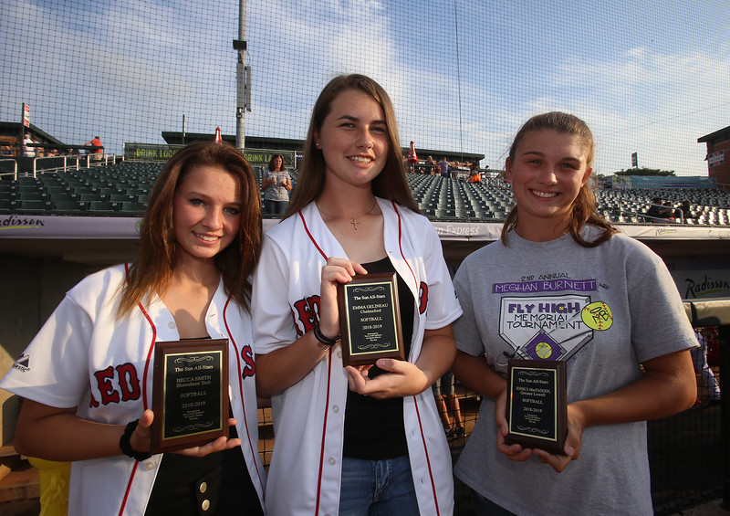 Sun All Stars honored at LeLacheur Park before Spinners game. From left, Becca Smith (Shawsheen Tech softball), Emma Gelineau (Chelmsford softball) and Jessica MacFadgen (Greater Lowell Tech softball). (SUN/Julia Malakie)