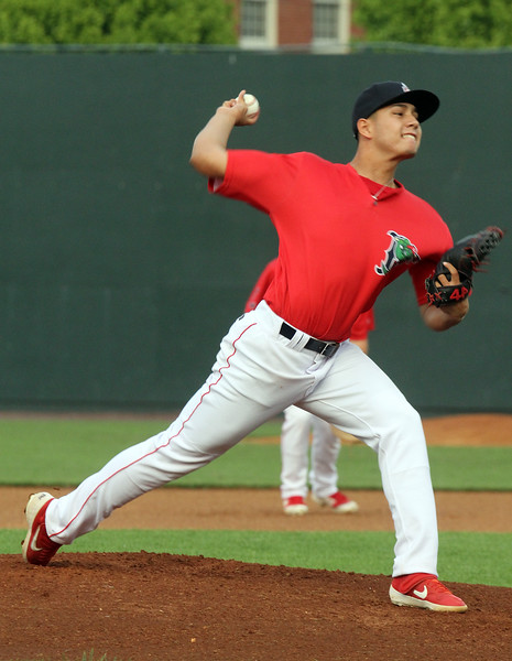 Lowell Spinners vs Hudson Valley Renegades baseball. Spinners starting pitcher Aldo Ramirez (22). (SUN/Julia Malakie)
