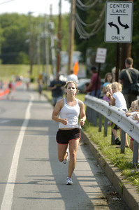 Caitlin Cavanaugh was the first female runner over the finish line in Saturday's Sunbury YMCA 5k race.