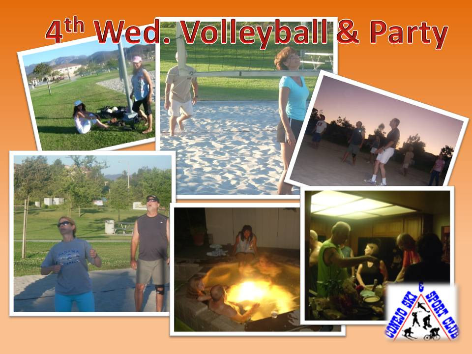 """Welcome to memories of Summer.  The  <a href=""""http://conejoskiclub.org/calendar.html""""> Conejo Ski & Sports Club </a> 4th Wednesday evening outdoor volleyball, and after-party.<br> <center> <font color=""""darkgreen"""">Click on any of the 136 thumbnails or pictures to see a bigger version.</font></center> <font color=""""darkred""""> [For a short Volleyball video go to picture #65, or search on 'Action'] </font>"""