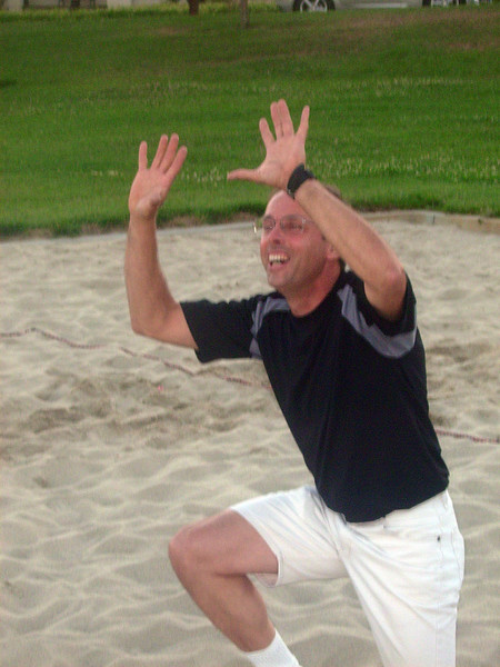 Joe reenacts the pose that ended up in a missed shot.