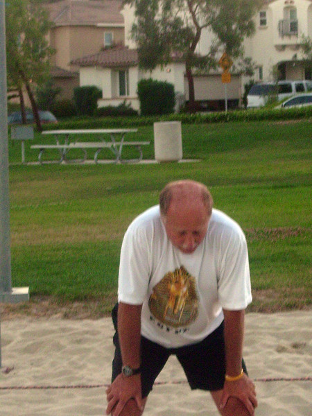 Todd after a long, fun volley with the other team that saw the serve change hands.