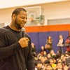 Ndamukong Suh takes questions from middle school students at the Shanghai American School. Photo credit: Shanghai American School (SAS) - David Mention