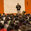 """Have the courage to live your dreams"" - Ndamukong Suh talks with middle school students from Shanghai American School. Photo credit: Shanghai American School (SAS) - David Mention"