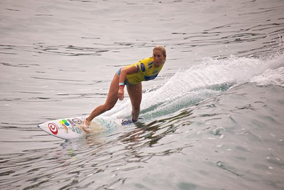 Bethany Hamilton taking a left on day 2 of the Supergirl Pro 2013.