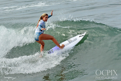 Surfer Samantha Sibley at the 2017 Paul Mitchell Supergirl Pro surfing competition