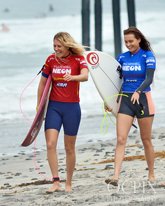 Stephanie Gilmore and Alana Blanchard at the 2018 Supergirl Pro in Oceanside