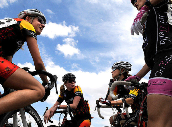 """Pro Women racers Stacey Schuster, left, Shawnee Brenner, Therese Johnson and Joan Orgeldinger talk about the race they just finished on Saturday, May 28, during the Summit Criterium Bike Race in Superior. Megan Hottman, not pictured, won the race. For more photos of the festival go to  <a href=""""http://www.dailycamera.com"""">http://www.dailycamera.com</a><br /> Jeremy Papasso/ Camera"""