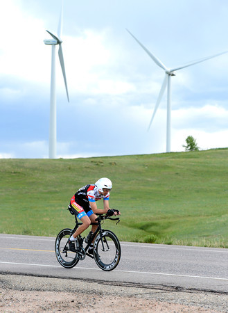 "Eric Williams speeds past the wind turbines during the Superior Morgul time trials on Friday, May, 18, in Superior. For more photos of the game go to  <a href=""http://www.dailycamera.com"">http://www.dailycamera.com</a><br /> Jeremy Papasso/ Camera"