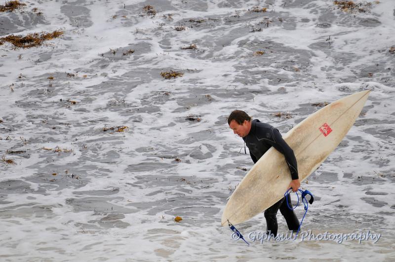 Surfer in seaweed