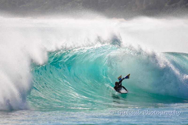 Bodyboarder on wave at Rabbits - Yallingup