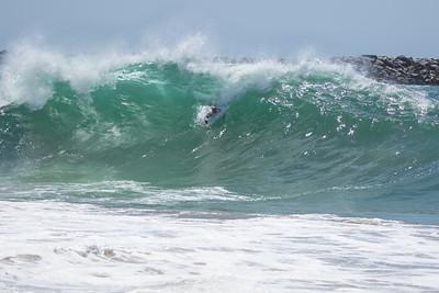 Bodysurfing the Wedge, Newport Beach California May 22 2021.