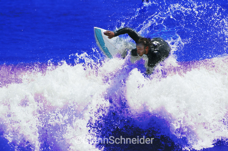 a colorized photo of Cory, surfing Turtle Cove, montauk, NY, Sept 7th, 2008