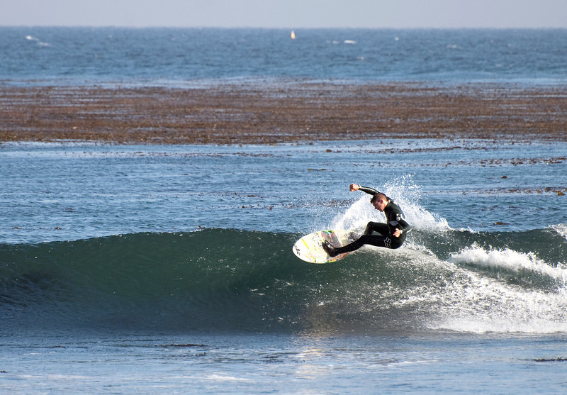 surfing at Pleasure Point, Santa Cruz, CA