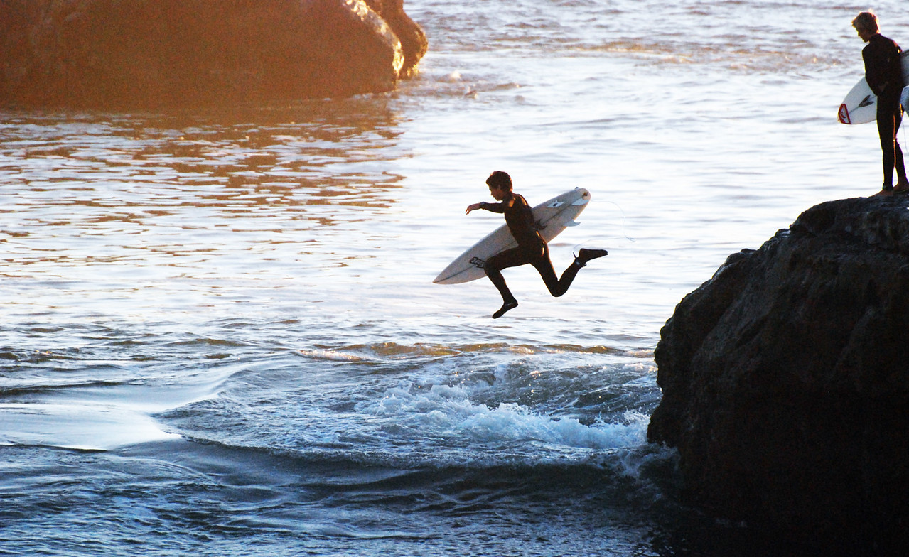 Surfing Steamer Lane, Santa Cruz, California