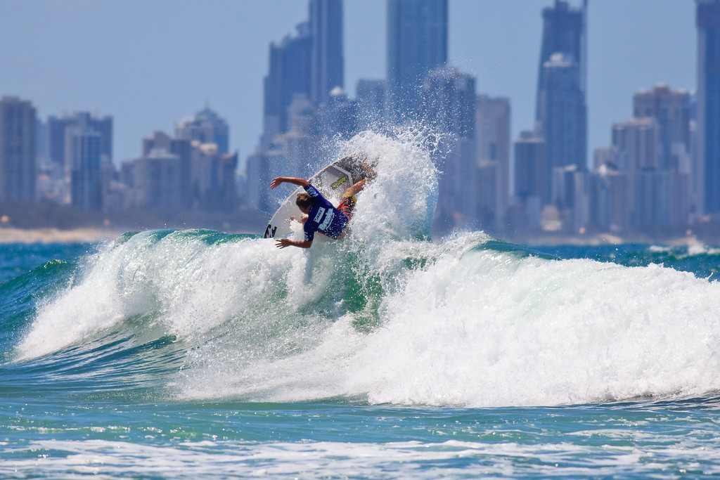 2010 & 2011 Winner, Taj Burrow with a Broadbeach / Surfers Paradise backdrop - 2011 Breaka Burleigh Surf Pro - Surfing - Burleigh Heads, Gold Coast. Saturday 19 February 2011. Photos by Des Thureson.