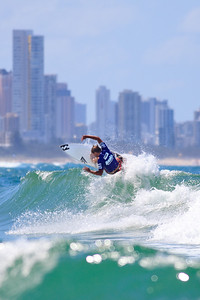 2010 & 2011 Winner, Taj Burrow with a Broadbeach / Surfers Paradise backdrop - 2011 Breaka Burleigh Surf Pro - Surfing - Burleigh Heads, Gold Coast. Saturday 19 February 2011. Photos by Des Thureson.