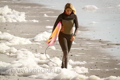 A walk in the foam at Folly Beach Washout
