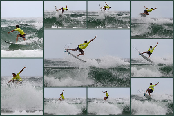 """Ryan Callinan - Aerial Collage - (Start at top left & work clockwise. Try to work out where the centre pic goes in the sequence.) - 2013 Breaka Burleigh Pro Surfing - Association of Surfing Professionals (ASP) 6-Star Women's and 4-Star Men's rated event - Burleigh Heads, Gold Coast, Queensland, Australia; 07 February 2013. Visit 2. Photos by Des Thureson - <a href=""""http://disci.smugmug.com"""">http://disci.smugmug.com</a>"""