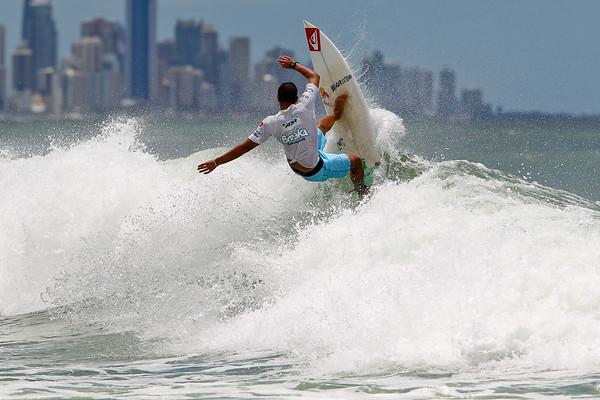 """Vasco Ribeiro - Breaka Burleigh Surf Pro - Surfing; Burleigh Heads, Gold Coast, Queensland, Australia. ASP 4 Star World Tour Event. Thursday 9 February 2012. Photos by Des Thureson: <a href=""""http://disci.smugmug.com"""">http://disci.smugmug.com</a>"""