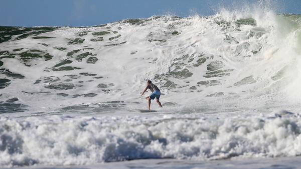 Labour Day Surfing at the Snapper Rocks Superbank (in wild surf), Coolangatta, Gold Coast. Photos by Des Thureson.