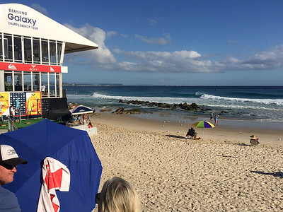 Phone pic - 2016 Quiksilver Pro & 2015 Roxy Pro Surfing; Tuesday 15 March 2016; Snapper Rocks, Coolangatta, Gold Coast, Qld, AUS. Photos by Des Thureson - http://disci.smugmug.com