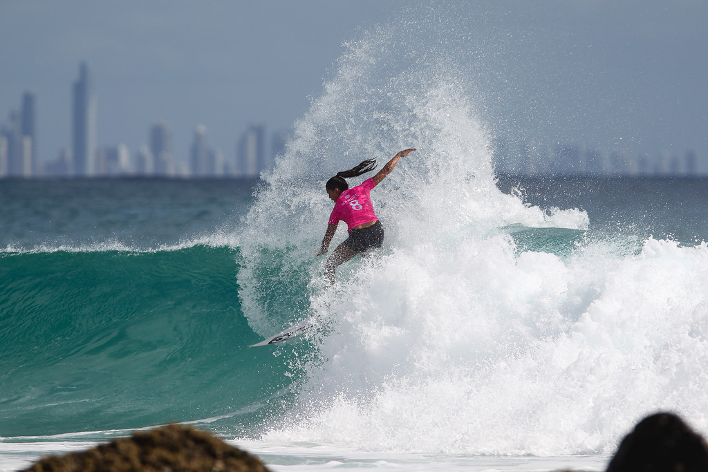 "Malia Manuel - Roxy Pro - 2016 Quiksilver Pro & 2015 Roxy Pro Surfing; Tuesday 15 March 2016; Snapper Rocks, Coolangatta, Gold Coast, Qld, AUS. Photos by Des Thureson - <a href=""http://disci.smugmug.com"">http://disci.smugmug.com</a>"