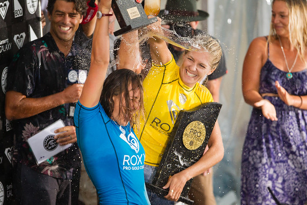 Carissa Moore, Stephanie Gilmore - 2015 Quiksilver Pro and 2015 Roxy Pro, final day; Friday 13 March 2015; Snapper Rocks, Coolangatta, Gold Coast, Qld, AUS (afternoon session). Photos by Des Thureson - http://disci.smugmug.com