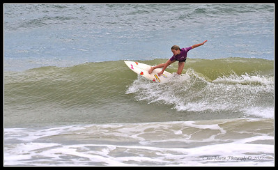 The next few photos are of 10 year old Zoe Bonik surfing at the St. Augustine Pier. Less than ideal conditions, but she made it look good.