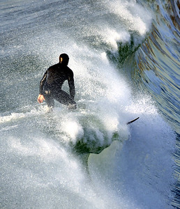 Ray Wolfgramm surfing in Pacifica, California