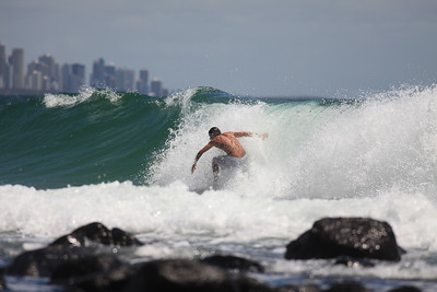 Surfing Burleigh Heads, Gold Coast, Queensland, Australia; New Year's Eve 2009.