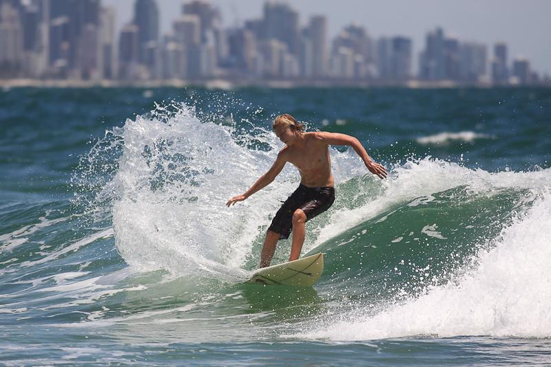 Surfing Burleigh Heads, Gold Coast, Queensland, Australia; New Year's Eve 2009.