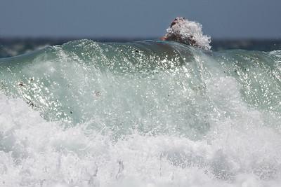 """Eruption"" - Surfing Burleigh Heads on a choppy, windy day; 9 December 2009. Photos by Des Thureson."