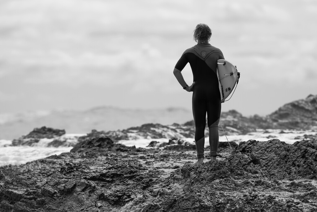 """Black and White - """"Orange Filter"""" - Surfing Kirra first & Snapper Rocks later, Gold Coast, Queensland, Australia; 27 August 2014. Photos by Des Thureson - <a href=""""http://disci.smugmug.com"""">http://disci.smugmug.com</a>.  - Snapper Rocks."""