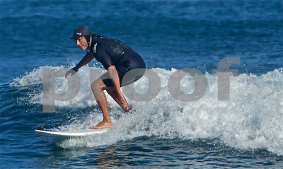 Rob Lowe surfing Malibu, Aug '14