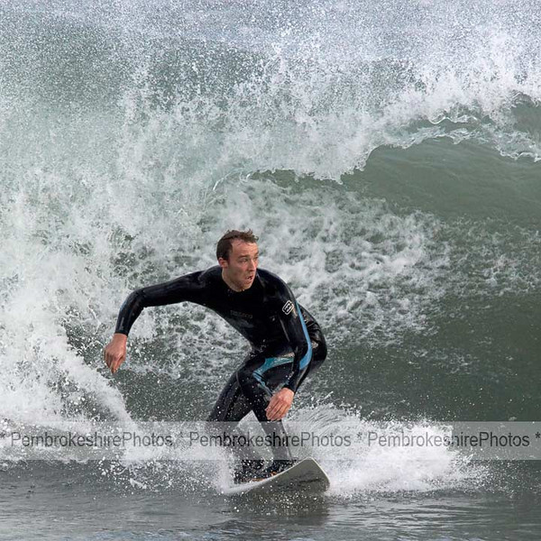 Surfing at Broadhaven, grey November day.