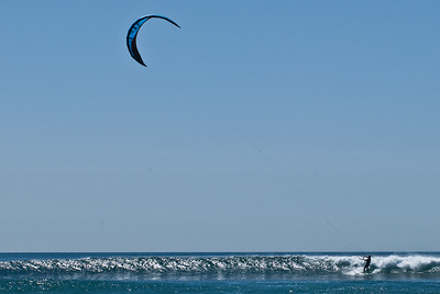 wind surfing at Cardiff beach.  Cardiff, California.