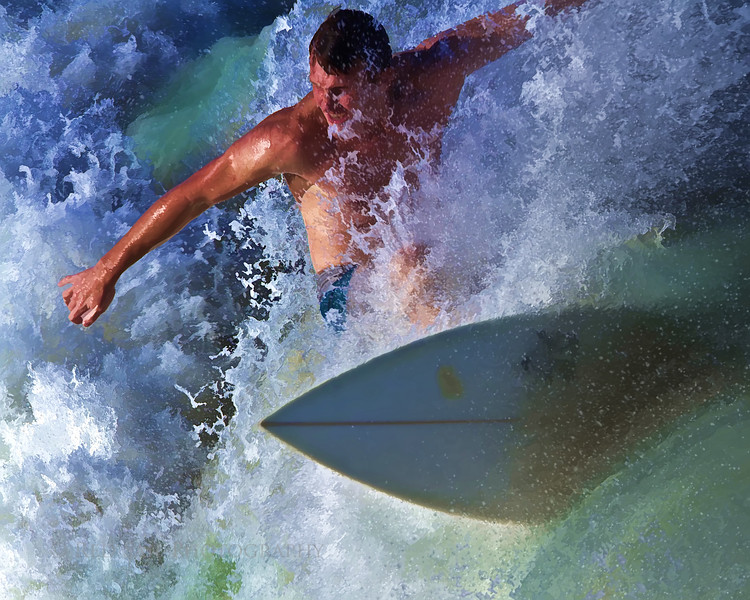 Surfing image as an oil painting.