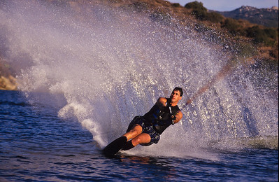 Ken Reilic waterskiing.  San Vicente reservoir, Lakeside, California.