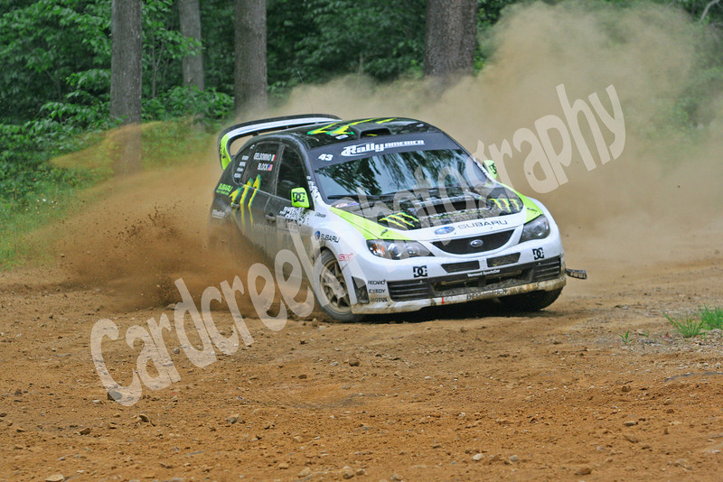 Gelsomino Block Car 43 Subaru during the Susquehannock Trail Performance Rally.<br /> Wellsboro, PA. June 5, 2009